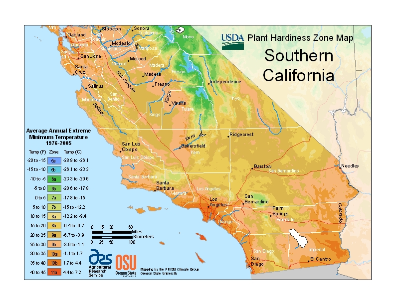 California-South Plant Hardiness Zones Map