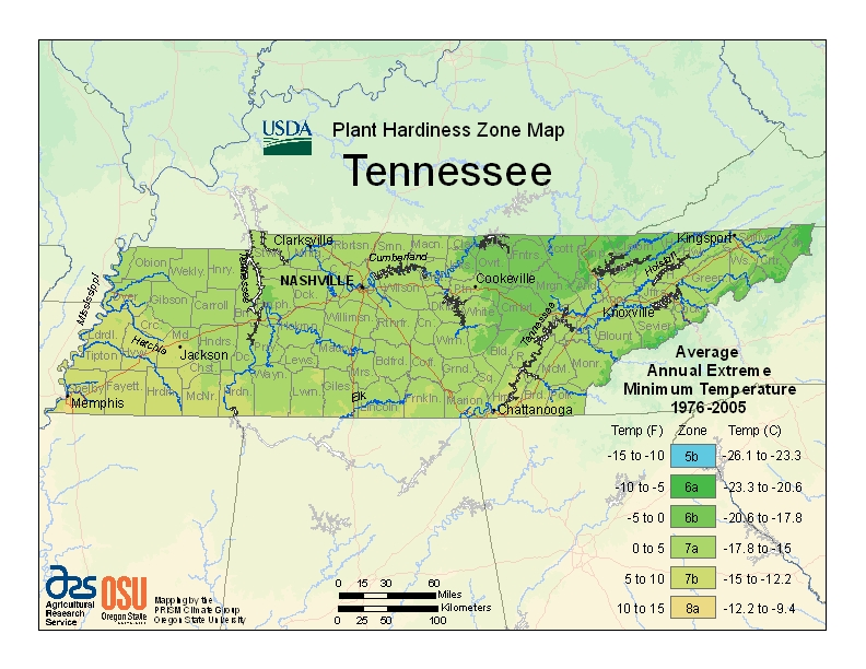 Tennessee Plant Hardiness Zones Map