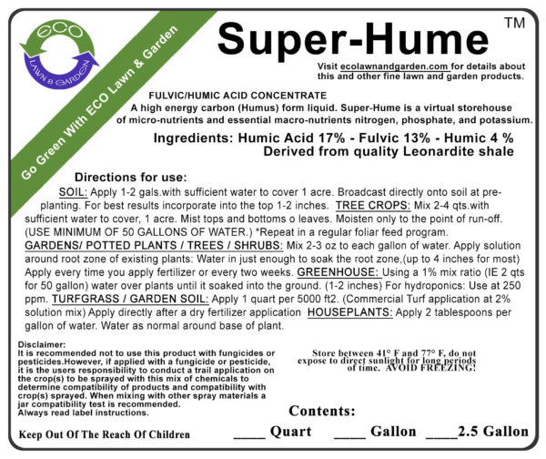 Label image of Eco Super Hume Humic Acid. A highly concentrated form of liquefied organic carbon for the soil