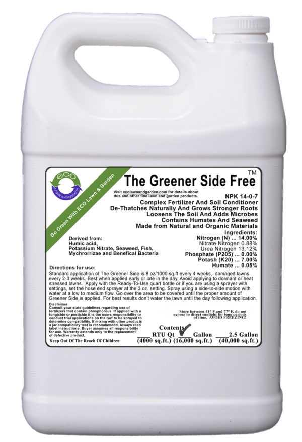 All-in-one liquid fertilizer phosphorous free gallon Greener-Side organic and natural ingredients