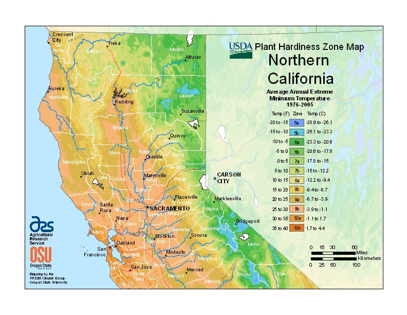 California-North Plant Hardiness Zones Map