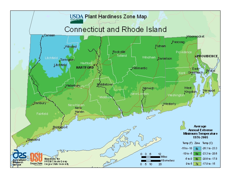 Connecticut Plant Hardiness Zones Map
