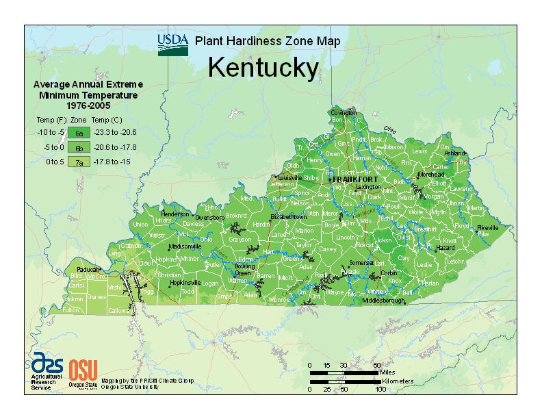 Kenducky Plant Hardiness Zones Map