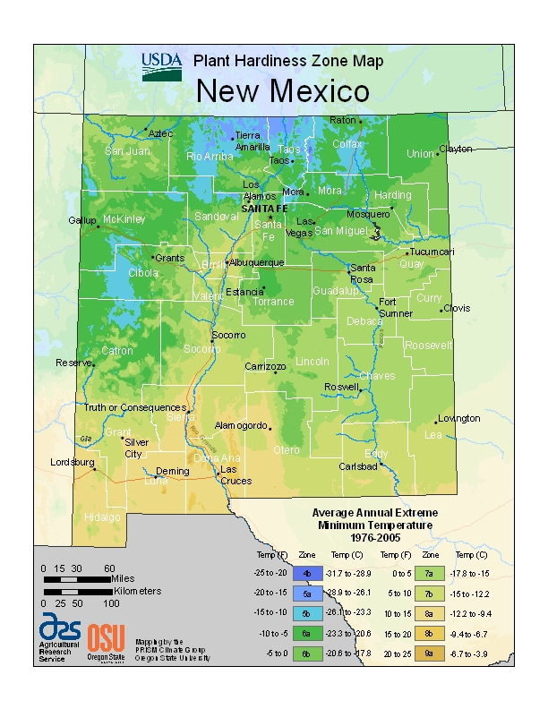 New MexicoPlant Hardiness Zones Map
