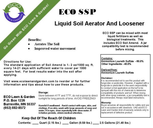 Label of SSP Soil Amendment soil loosener and aerator.