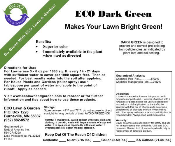 Dark Green Greenest Grass Product Label