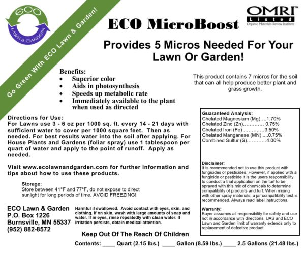 Eco MicroBoost Micro Nutrient Mix Label