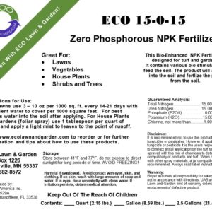 ECO 15-0-15 NPK Phosphorous Free Liquid Fertilizer